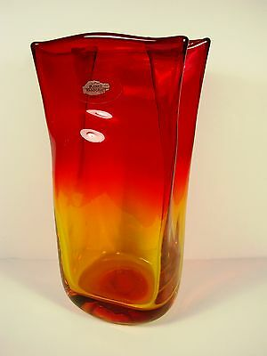 BLENKO TALL VASE, AMBERINA SHADING RED TO GOLDEN