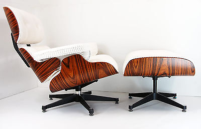 Designer Rosewood Corduroy Lounge Chair and Ottoman Inspired by Charles Eames
