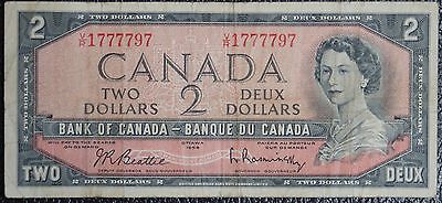 BANK OF CANADA - 1954 $2 Note - Prefix V/R 1777797 - Signed Beattie & Rasminsky