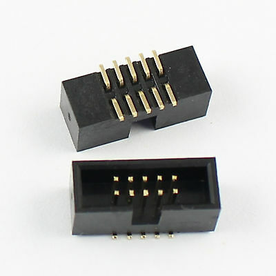 10Pcs 1.27mm 2x5 Pin 10 Pin SMT Male Shrouded PCB Box Header IDC Connector