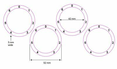 Stove Cooker Hob Dial Knob Sticker Decal Numbers 1- 6 Clockwise With Zero At Top