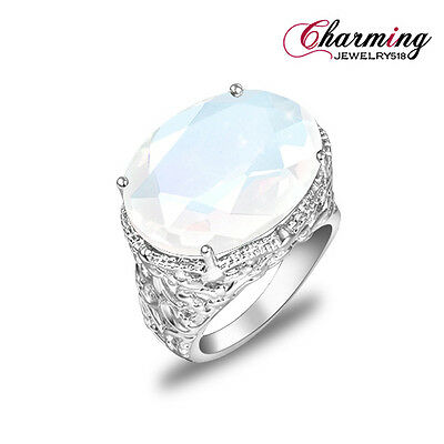 HUGE ! Best Xmas Gift Fashion Oval Rainbow Moonstone Gems Silver Ring Size 7 8 9