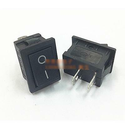 10pc/Pack Durable Boatlike Switch Black Rocke KCD1-101 AC 250V 6A r 2 Pin Switch