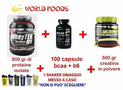 Kit Anderson Research Whey Tek 91% Proteine Isolate Creatina Bcaa Shaker Cacao