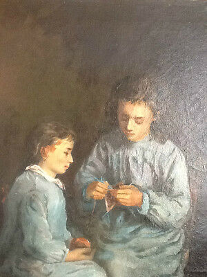 BEAU TABLEAU 19ème JEUNES FILLES  - LOVELY 19TH C. PAINTING OF TWO YOUNG GIRLS