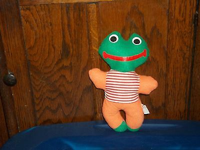 ACME VINTAGE GREEN FROG WITH ORANGE ARMS & RED STRIPED CHEST PLUSH
