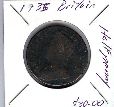 1735 Great Britain 1/2 Penny Coin
