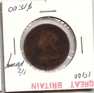 1900 Great Britain 1/2 Penny Coin