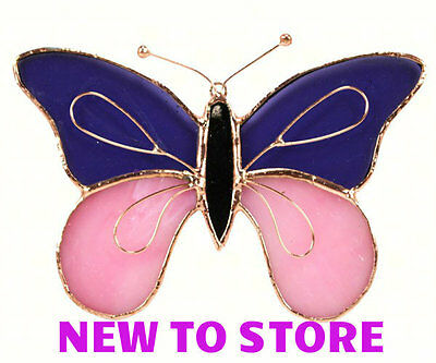 Hand Crafted 5x6 Stained Glass Copper Accent Butterfly Purple Suncatcher GE161