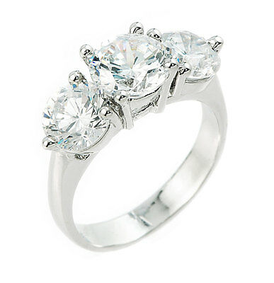 Solid Sterling Silver 3 Round Stone CZ Cubic Zirconia Engagement Wedding Ring