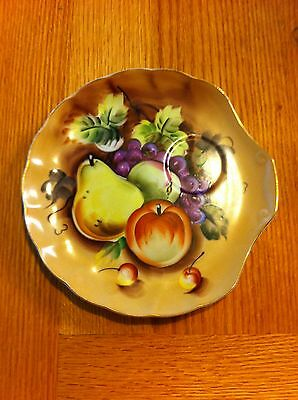 Enesco or Heritage brown fruit snack plate lefton china plate