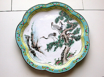Beautiful Antique Chinese Canton Femille Rose Enamel On Brass Three Stork Birds