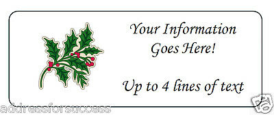 60 Personalized Christmas Holly Bough Return Address Labels