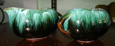 Blue Mountain Pottery Green Glaze Sugar & Creamer~Very Good+ Cond~Fast Shipping!
