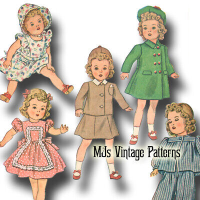 """Composition Doll Clothes ~ 15/"""" 16/"""" Vtg Pattern for Shirley Temple Patsy Joan"""