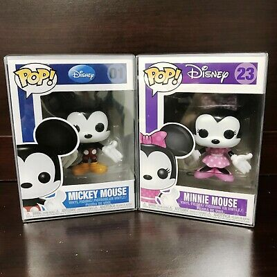 "Funko Pop Disney : Mickey Mouse #01  + Minnie Mouse #23 Set of 2 Vinyl ""MINT"""