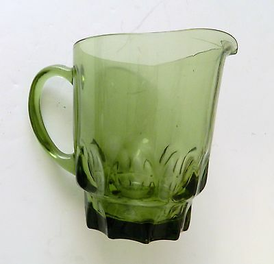 Hazel Atlas Glass Green Thumbprint Pitcher ATC7 Vintage