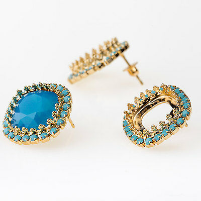Square 12mm Post Earrings Setting Gold Plated w/ Turquoise Rhinestones fit 4470