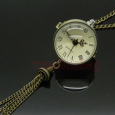 Vintage Antique Brass Glass Ball Steampunk Pocket Watch Chain Necklace Pendant
