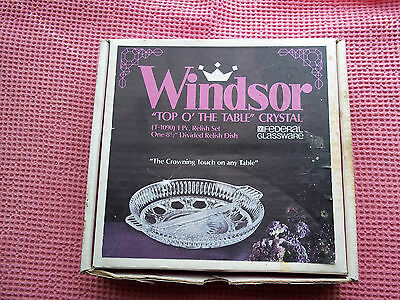 "Windsor ""Top of the Table"" Crystal Divided Relish Dish Federal Glassware in BOX"