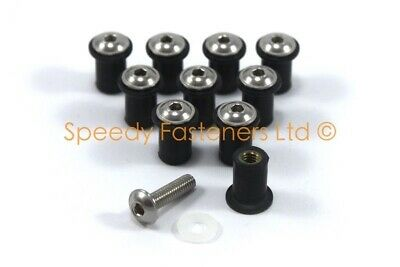 Ducati 848 1098 1198 Wind Screen Bolts Stainless Steel + Rubber Well Nuts m4 4mm