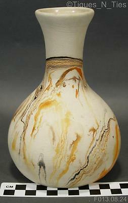 Vintage Early American Pottery Vase by Nemadji Orange Brown Black Swirls (GG)