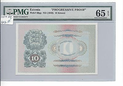 Estonia no date (1940) 10 Krooni Pick 68 Progressive Proof  PMG 65 EPQ GEM UNC