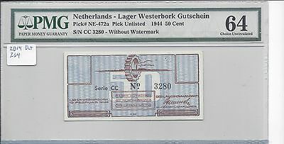 Netherlands 15-2-1944 Westerbork Camp F&F NE 472a 50 Cents PMG 64 CHOICE UNC
