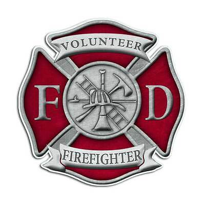 Volunteer Firefighter Maltese Cross Sticker - Red Fire Department Truck Decal