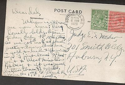 Great Britain Scott 187 - 188  England To USA Post Card.  #02 GB187FDC