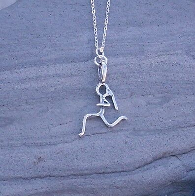 Runner Girl Charm Necklace Jewelry Sterling silver track sport run race gift
