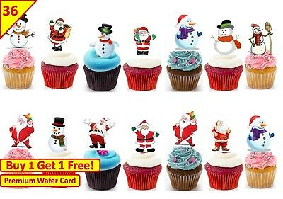 144 STAND UP PREMIUM CHRISTMAS SANTA SNOWMAN Edible RICE CARD Cake Toppers D2