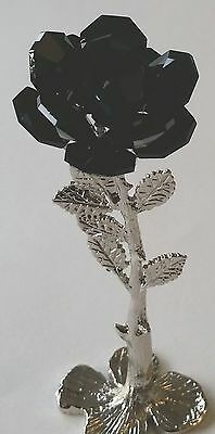 Black Crystal Rose handcrafted With Swarovski Crystals