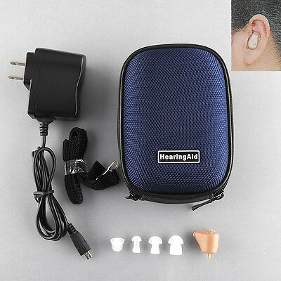 Rechargeable Digital In Ear Hearing Aid Adjustable Amplifier BOX Case Acouophone