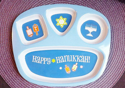 Happy Hanukkah Child Tray Partitioned Plate Baby Colorful Plastic Serving Plate