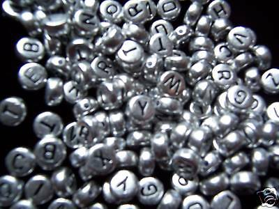 50pcs  flat round silver alphabet beads 7mm combine letters yourself