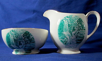 Royal Winton Watkins Glen Rainbow Falls Creamer Sugar Bowl Porcelain Souvenir
