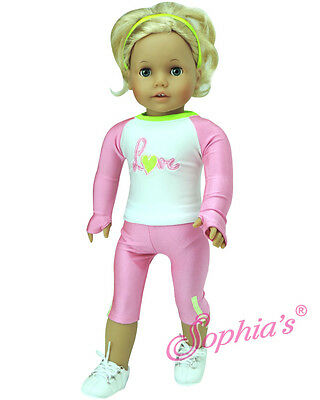 """Doll Clothes 18"""" Pink Capri Workout Pants Top Fits American Girl Doll"""