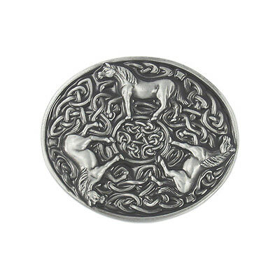 Vintage Silver Round Knots Celtic Horses Belt Buckle FREE GIFT BOX NEW
