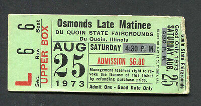 Original 1973 The Osmonds Concert Ticket Stub Fairgrounds Du Quoin IL Donny