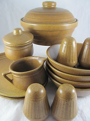 Monmouth Mojave Pottery Serving Set, 15 pc, brown, maple leaf