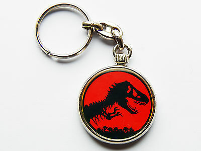 JURASSIC PARK Dinosaur Movie Quality Chrome Keyring Picture Both Sides!