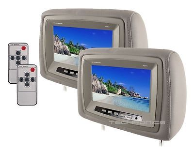 "Pair Car 8"" Wide Screen Universal Led Video Headrest Pillow Grey Monitors Set"
