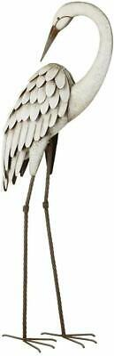 Metal Egret Statue Garden Pond Coastal Bird Sculpture Crane Heron Yard Art