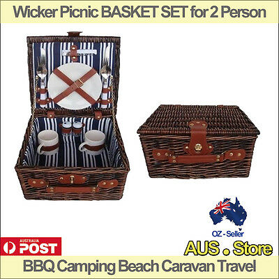 Wicker Picnic BASKET SET for 2 Person, BBQ Camping Beach Caravan Small size