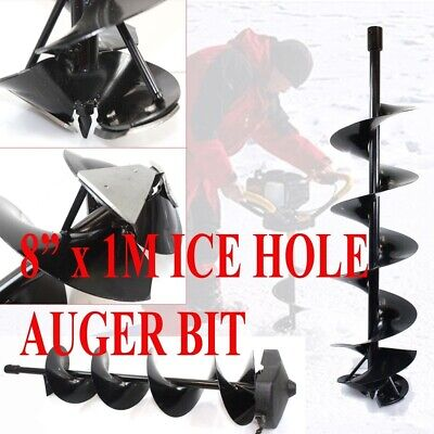 "8"" x 1M  Ice Auger Hole Digger Bit Shaft 3/4"" Bit Drilling Double Blade Fishing"