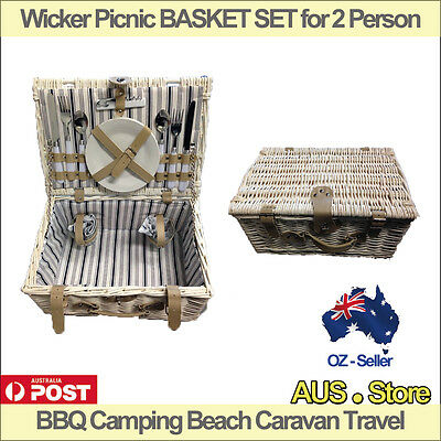 Wicker Picnic BASKET SET for 2 Person, BBQ Camping Beach Caravan Travel