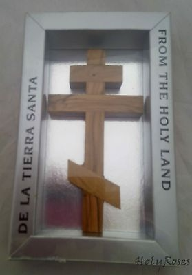 "Olivewood Russian Orthodox Eastern Wall Christian Cross 12 cm 4.75"" Gift Box HJW"