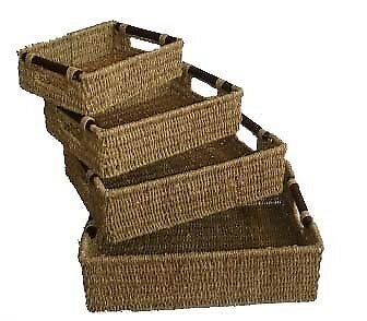 Woodluv Multipurpose Home Decor Seagrass Storage Basket With Wood Handles- 4 siz