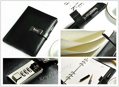 NEW Large Leather Black Diaries Journals With Lock Password Lined Business Mens